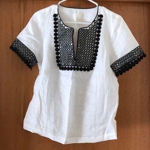 Jcrew white linen top